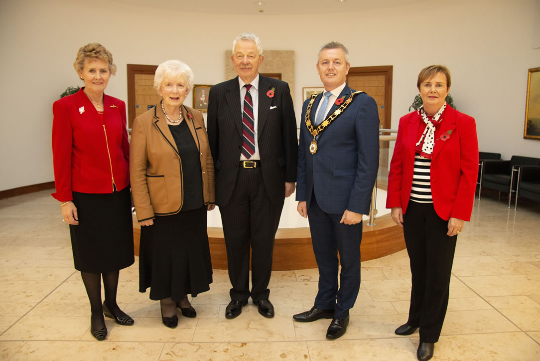 Mayor of Antrim and Newtownabbey Paul Michael, CEO Jacqui Dixon, Joan Christie CVO OBE, Air Vice-Marshal David Niven