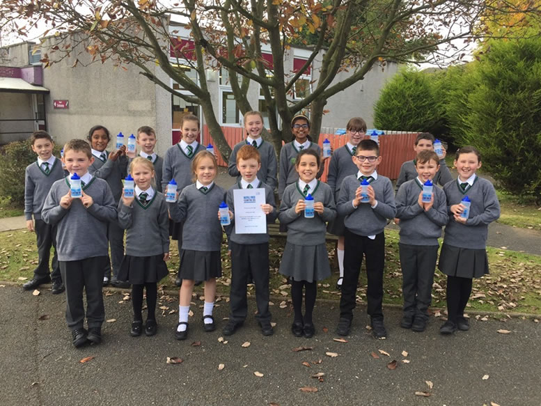 Primary school children from St Malachy's, Bangor support NI Water's commitment to reducing plastic waste and refilling from the tap!