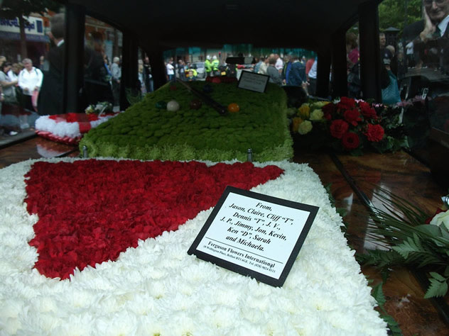 Alex Higgins snooker table floral tributes