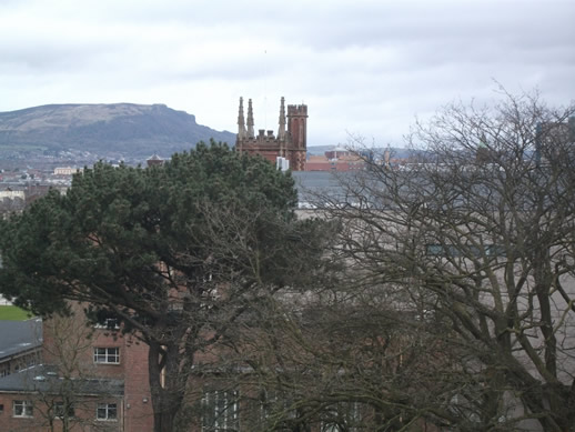 Queens University view from inside the Ulster Museum