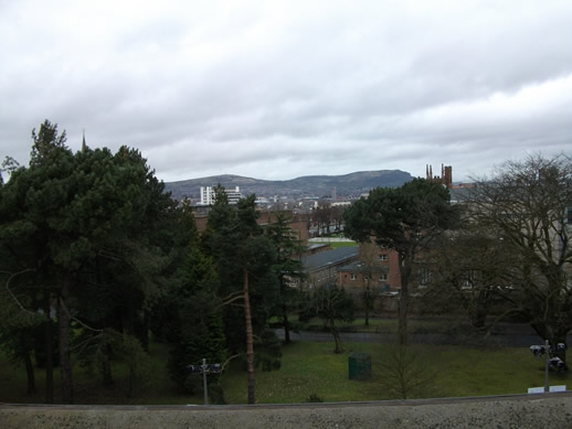 Belfast skyline view from inside the Ulster Museum