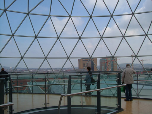 Inside the viewing dome at Victoria Square Belfast
